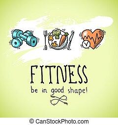 plakat, skizze, fitness