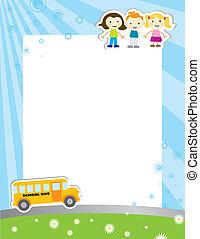plakat, skole, skabelon, baggrund