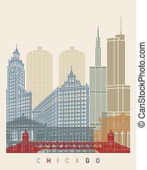 plakat, skyline, chicago