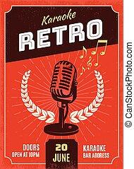 plakat, stil, karaoke, retro