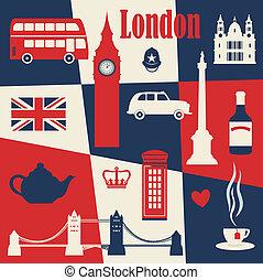 plakat, stil, london, retro