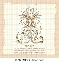 plakat, stil, retro, ananas
