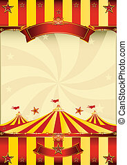 plakat, top, cirkus, røde gule