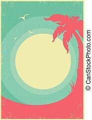plakat, tropische , text, retro, hintergrund, paradies