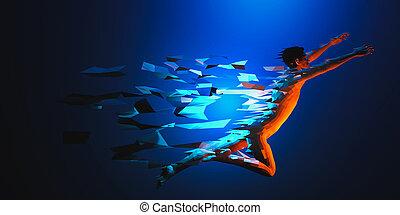 plakat, web, banner, blaues, abbildung, polygonal, geschwindigkeit, concept., steigung, 3d, traingle, partikel, hintergrund, laufen, sport, mann, color., niedrig