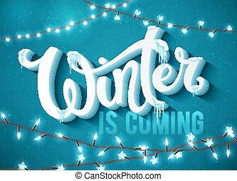 plakat, winter, kommen