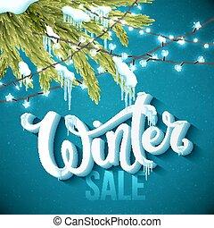 plakat, winter, verkauf