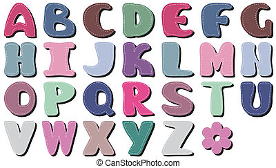 plakboek, alfabet, op wit