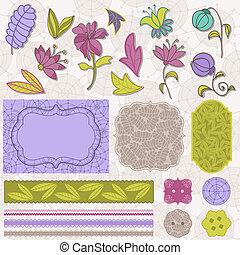 plakboek, bloem, set