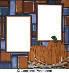 plakboek, frame, halloween, pagina, pompoen