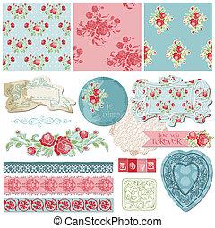 plakboek, ontwerp onderdelen, -, ouderwetse , bloemen, in,...