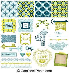 plakboek, ontwerp onderdelen, -, ouderwetse , liefde, en, trouwfeest, set, -, in, vector