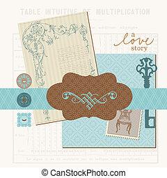 plakboek, ontwerp onderdelen, -, ouderwetse , liefde, set, in, vector