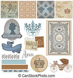 plakboek, ontwerp onderdelen, -, ouderwetse , royalty, set, -, in, vector