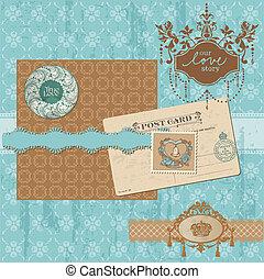 plakboek, ontwerp onderdelen, -, ouderwetse , trouwfeest, set, -, in, vector