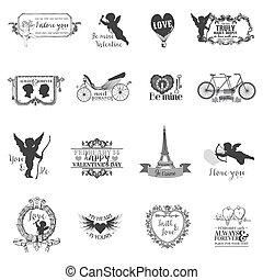 plakboek, ontwerp onderdelen, -, ouderwetse , valentine, liefde, set, -, voor, ontwerp, plakboek, -, in, vector