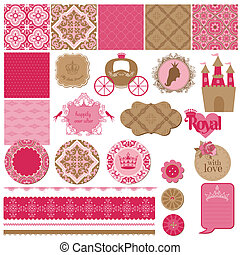 plakboek, ontwerp onderdelen, -, prinsesje, meisje, jarig, set, -, in, vector