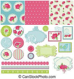 plakboek, ontwerp onderdelen, -, roos, bloemen, in, vector