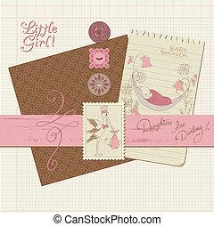 plakboek, ouderwetse , ontwerp onderdelen, -, baby meisje, aankondiging