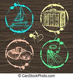 plakboek, postzegel, jouw, reizen, vakantie, -, set, verzameling, vector., illustraties, hand, getrokken, ontwerp