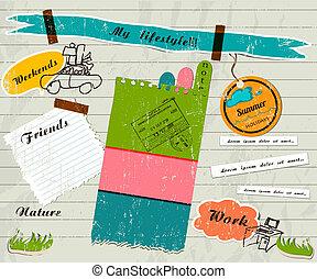 plakboek, set., details