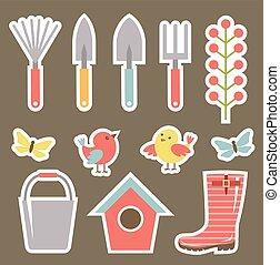 plakboek, set, tuin, communie
