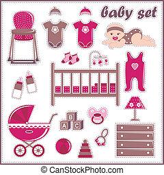 plakboek, t, meisje, communie, baby