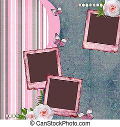plakboek, vlinder, papier, roos, stijl, pagina, lijstjes, ...