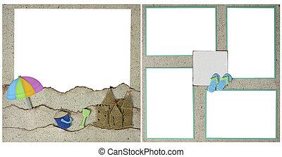 plakboek, zand strand, pagina