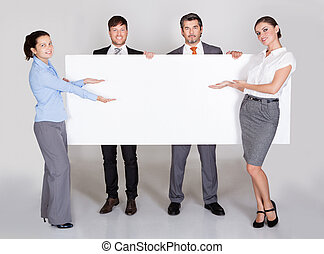 plakkaat, businesspeople, vasthouden
