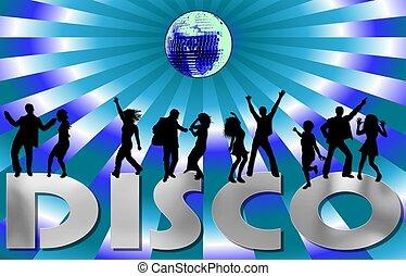 plakkaat, kleurrijke, disco