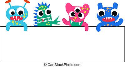 plakkaat, kleurrijke, monsters