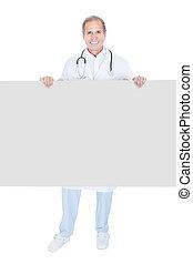 plakkaat, middelbare leeftijd , vasthouden, arts