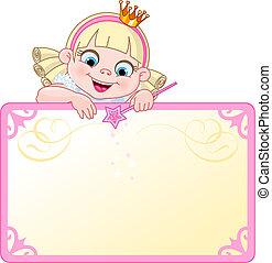 plakkaat, uitnodigen, prinsesje, of