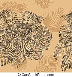 Plam leaf seamless vector pattern on brown background