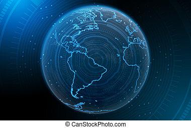 planète, à, éclairé, continents