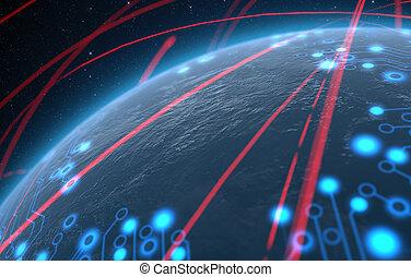 planète, à, éclairé, réseau, et, pistes lumière