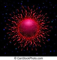 planète, éclatement, rouges