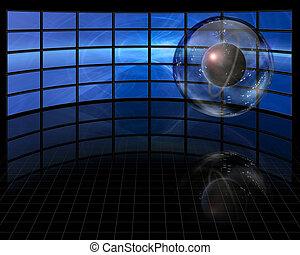 planète, écrans, capturé, avant