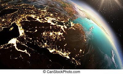 planète, éléments, image, la terre, zone., nasa, ouest, meublé, asie, ceci