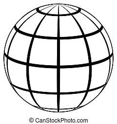 planète, élevé, globe, qualité, icône