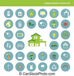 planète, énergie, sauver, vert, icône