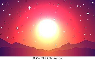 planète, étoilé, flash, ciel, rouges