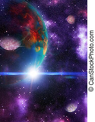 planète, étranger, espace, 3d