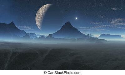 planète, étranger, lune