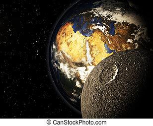planète, 3d, espace