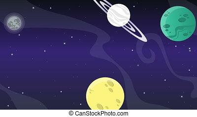 planète, animation, étoile, fusée, espace