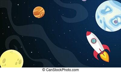 planète, animation, dessin animé, espace