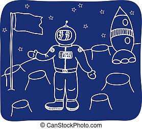 planète, astronaute, dessin