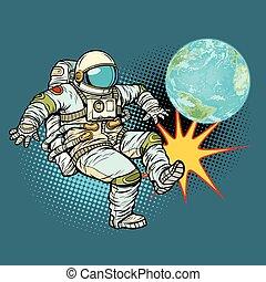 planète, astronaute, football, jeux, la terre